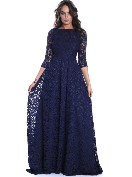 Navy Blue Floral Guipure Lace A-line Half Sleeve Evening Dress