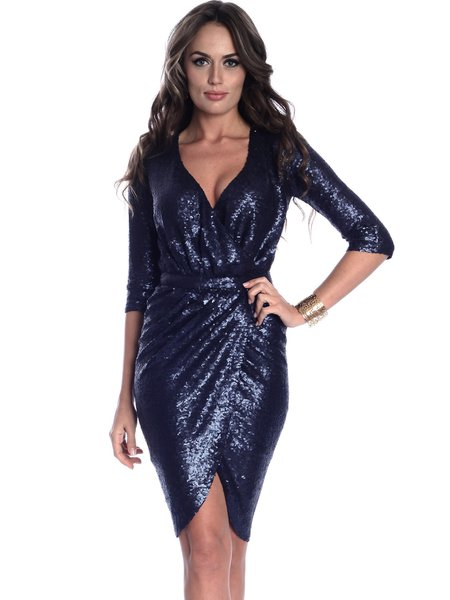 Navy Blue V Neck Glitter-finished Elegant Wrap Dress