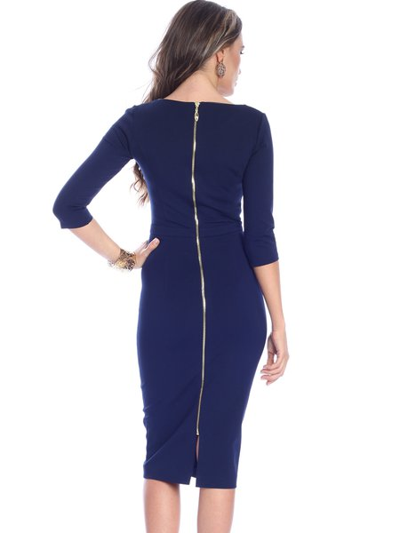 Navy Blue Sheath Elegant Plain Viscose Midi Dress - StyleWe.com