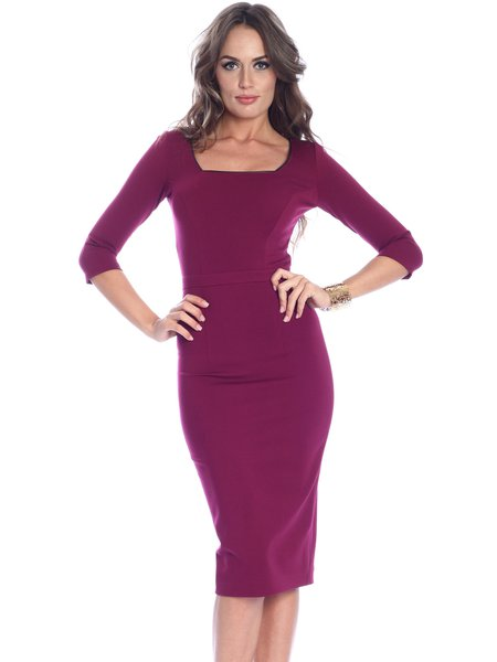 Fuchsia Elegant Plain Sheath Midi Dress
