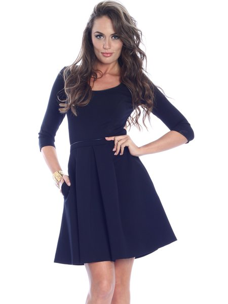 Basic A-line Solid 3/4 Sleeve Mini Dress