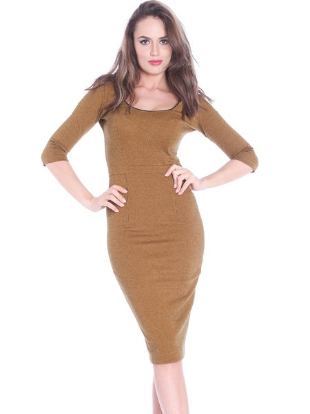 Mustard Square Neck Plain Elegant Zipper Midi Dress