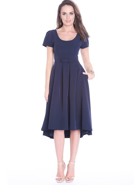 Navy Blue Folds Crew Neck Short Sleeve Midi Dress
