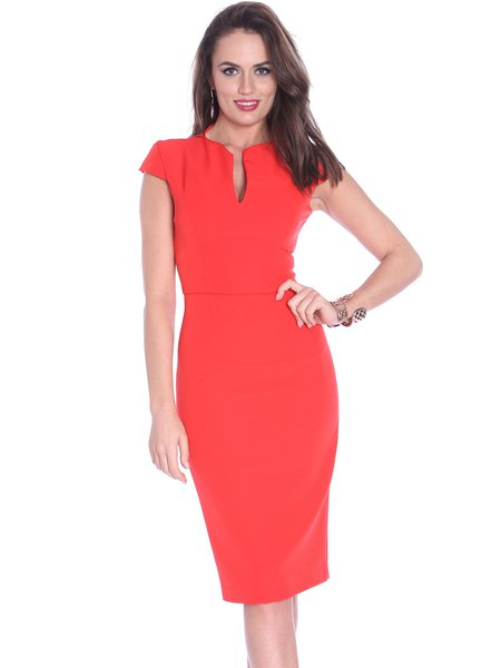 V neck Red Midi Dress Bodycon Work Elegant Plain Dress