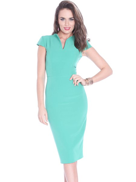 Green Plain Sheath Short Sleeve V Neck Midi Dress