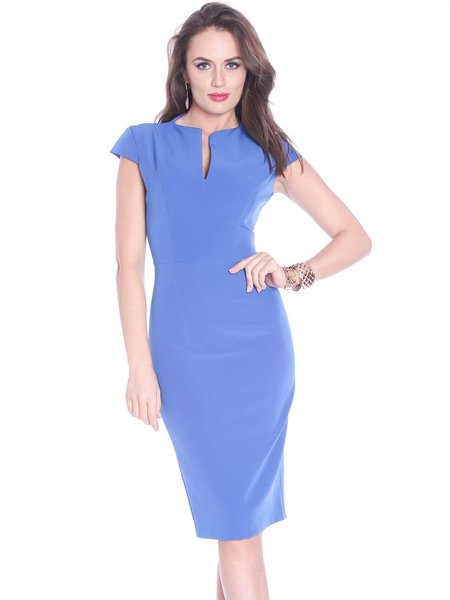 Blue V Neck Short Sleeve Sheath Polyester Midi Dress