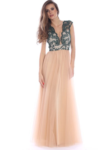 Nude A-line Floral-embroidered V Neck Short Sleeve Evening Dress