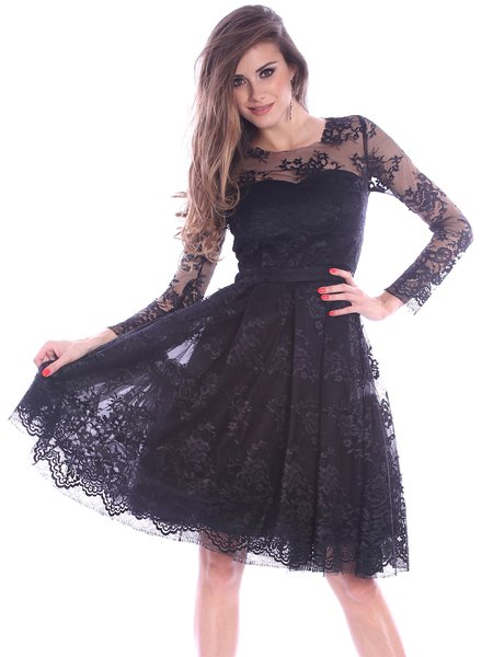 Black Floral Lace Long Sleeve Midi Dress