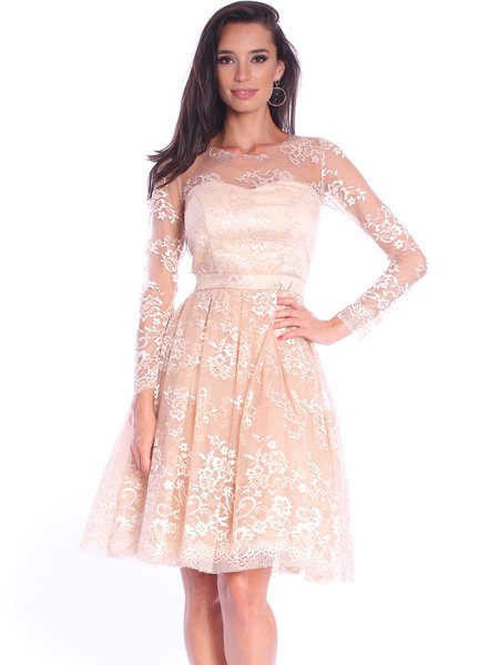 Cream Guipure Lace Long Sleeve Midi Dress