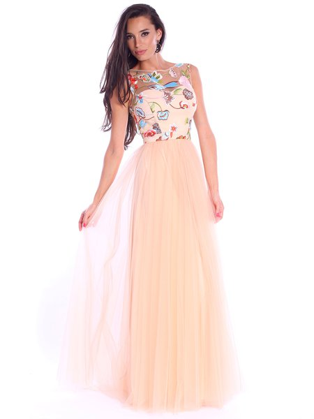 Cream Floral-embroidered Sleeveless Tulle Bateau/boat Neck Evening Dress