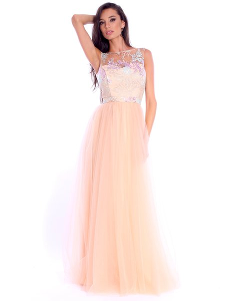 Tulle Bateau/boat Neck Evening Sleeveless Evening Dress