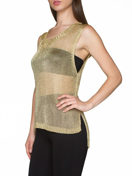 Golden Crew Neck Rayon Casual Tanks