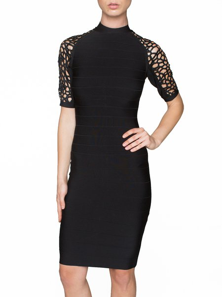 Black Rayon Plain Sheath Sexy Bandage Dress