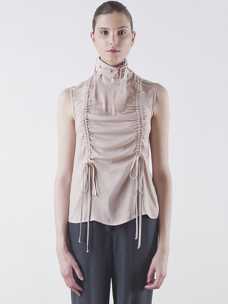 Nude Plain Sleeveless Stand Collar Ruched Blouse