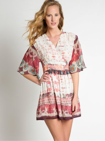 Woven V Neck Tribal Frill Sleeve Resort Wrap Dress
