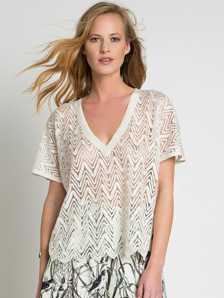 Cream H-line V Neck Guipure Lace Casual Blouse