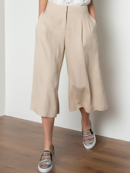 Beige Plain Woven Simple Wide Leg Pant