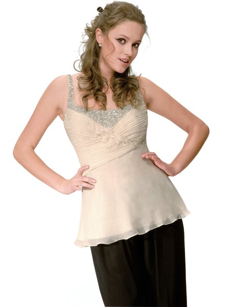 Cream Beaded Sexy Spaghetti Chiffon Cami