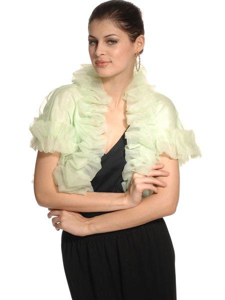 Plain H-line Frill Sleeve Ruffled Elegant Cropped Jacket