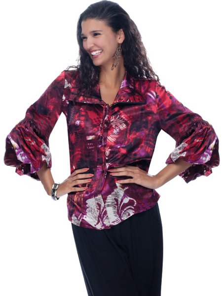 Elegant Abstract Long Sleeve Printed Blouse