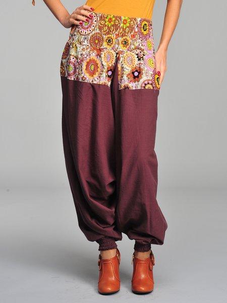 Brown Casual Paneled Floral-print H-line Cotton Wide Leg Pants