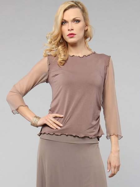 Coffee Mesh Casual Long Sleeved Top