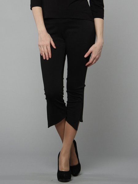 Black H-line Polyester Solid Casual Flared Pants