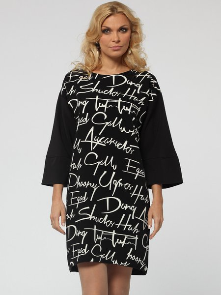 Polyester Casual Printed Letter Long Sleeve Mini Dress