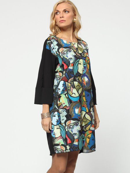 Black Casual Printed Abstract Mini Dress