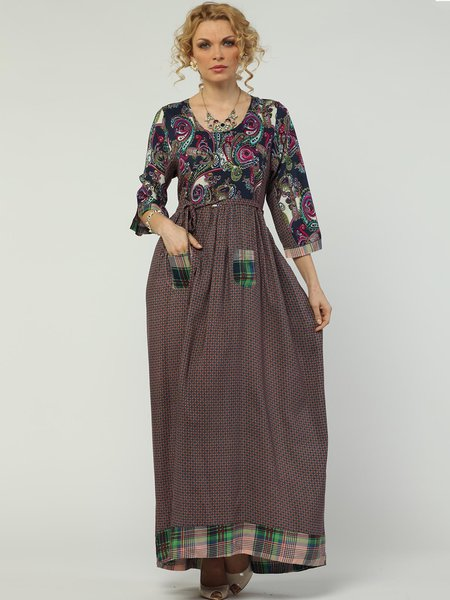 Paneled 3/4 Sleeve Cotton Swing Casual Maxi Dress