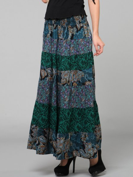 Dark Green Paneled Resort Maxi Skirt