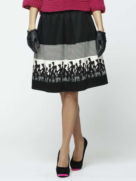 Black Casual Stripes Polyester Midi Skirt