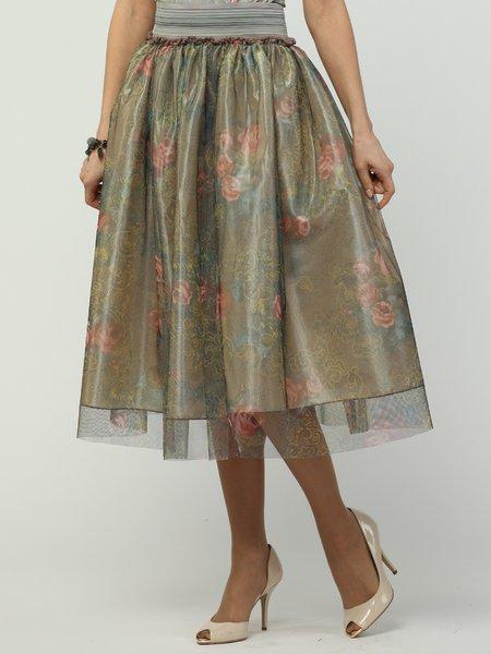Olive Green Polyester Floral Elegant Midi Skirt