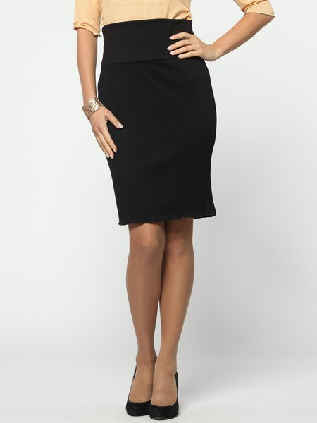 Black Elegant Sheath Solid Polyester Midi Skirt