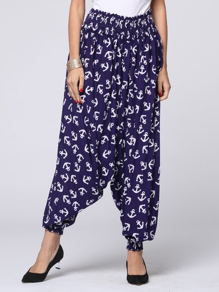 Navy Blue Printed Casual Cotton H-line Wide Leg Pants