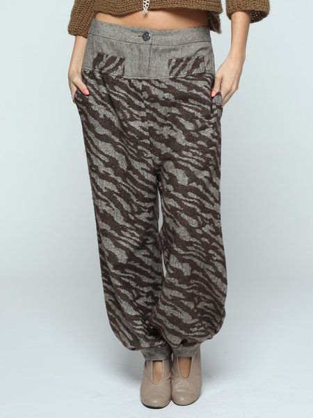 Brown Animal Print Casual Wide Leg Pants