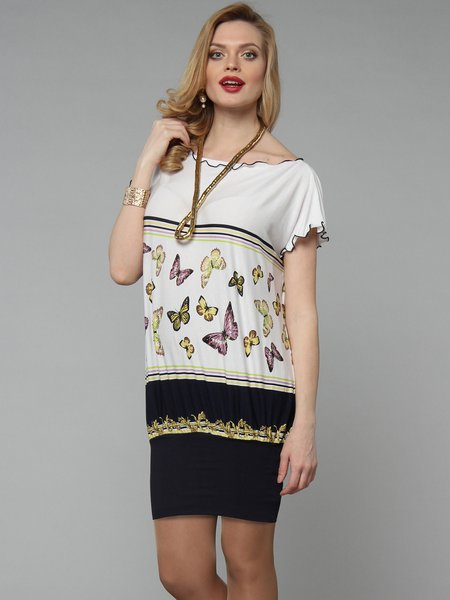 Printed Casual Short Sleeve H-line Butterfly Print Tunic