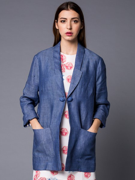 Blue Simple Lapel H-line Plain Blazer