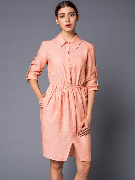 Orange Plain Shirt Collar Slit Simple Shirt Dress