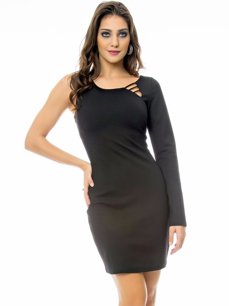 Black Plain Single Sleeve Cotton-blend Asymmetric Mini Dress