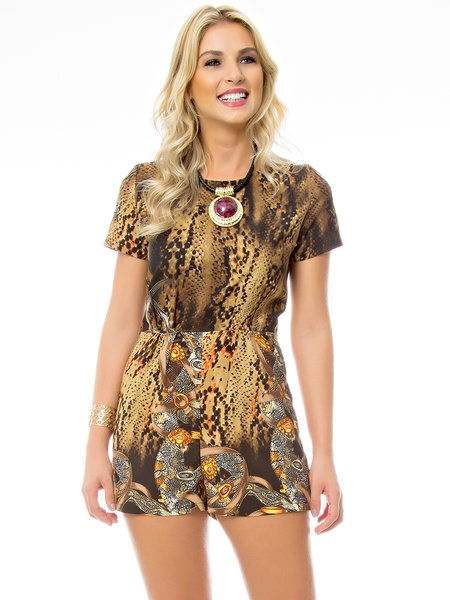 Golden Woven H-line Animal Print Boho Romper