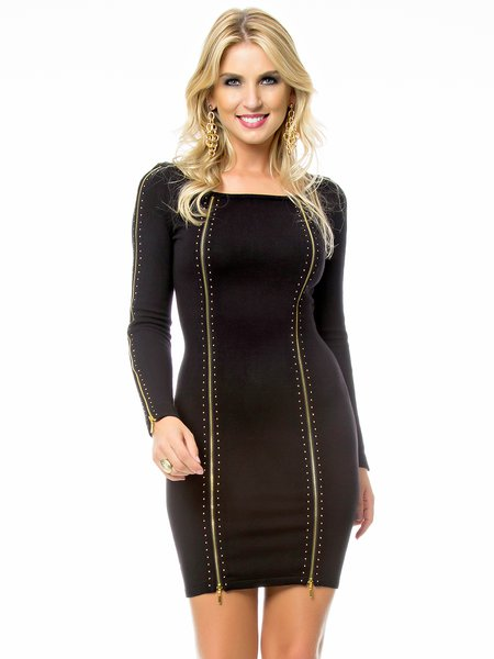 Black Knitted Zipper Plain Long Sleeve Mini Dress