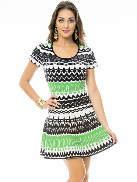 Short Sleeve Casual Stripes Knitted Mini Dress