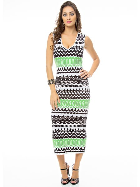 Sheath Crew Neck Sleeveless Knitted Resort Midi Dress