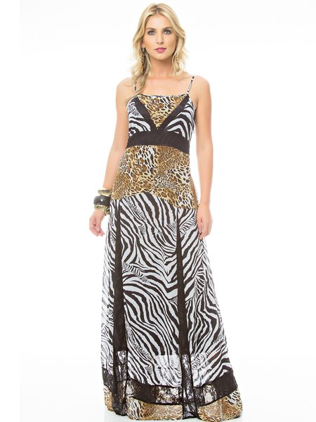 Animal Print Resort Spaghetti Maxi Dress