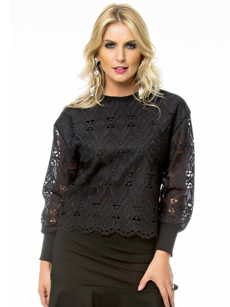 Black Crew Neck Polyester Long Sleeve H-line Long Sleeved Top