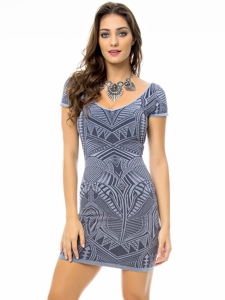 Gray Knitted Short Sleeve Abstract Mini Dress