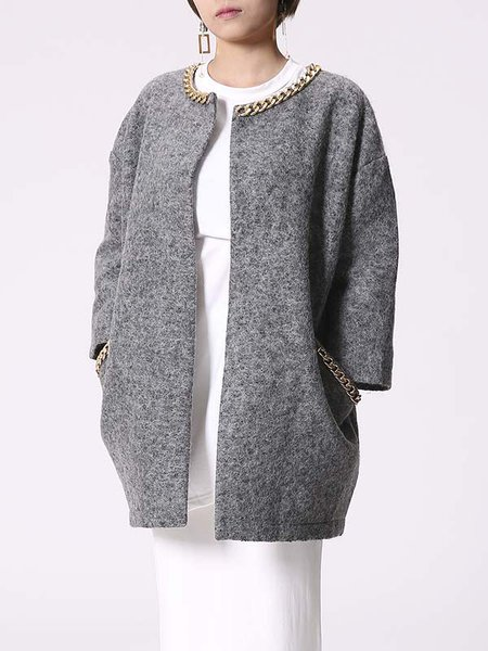 Gray Wool Blend H-line Embellished Casual Coat