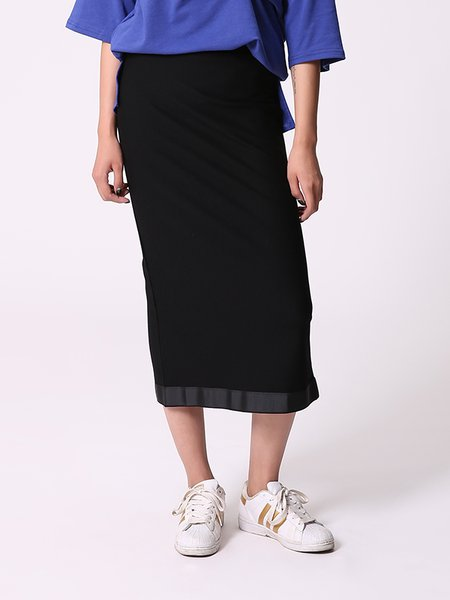 Black H-line Plain Simple Rayon Midi Skirt