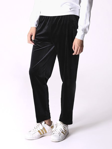 Black Plain Simple Straight Leg Pant